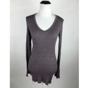 Michael Stars Purple Metallic Knit V Neck Tunic OS